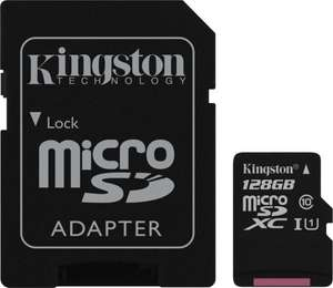 Kingston 128GB microSDXC (U1) für 27,49€ [Mymemory]
