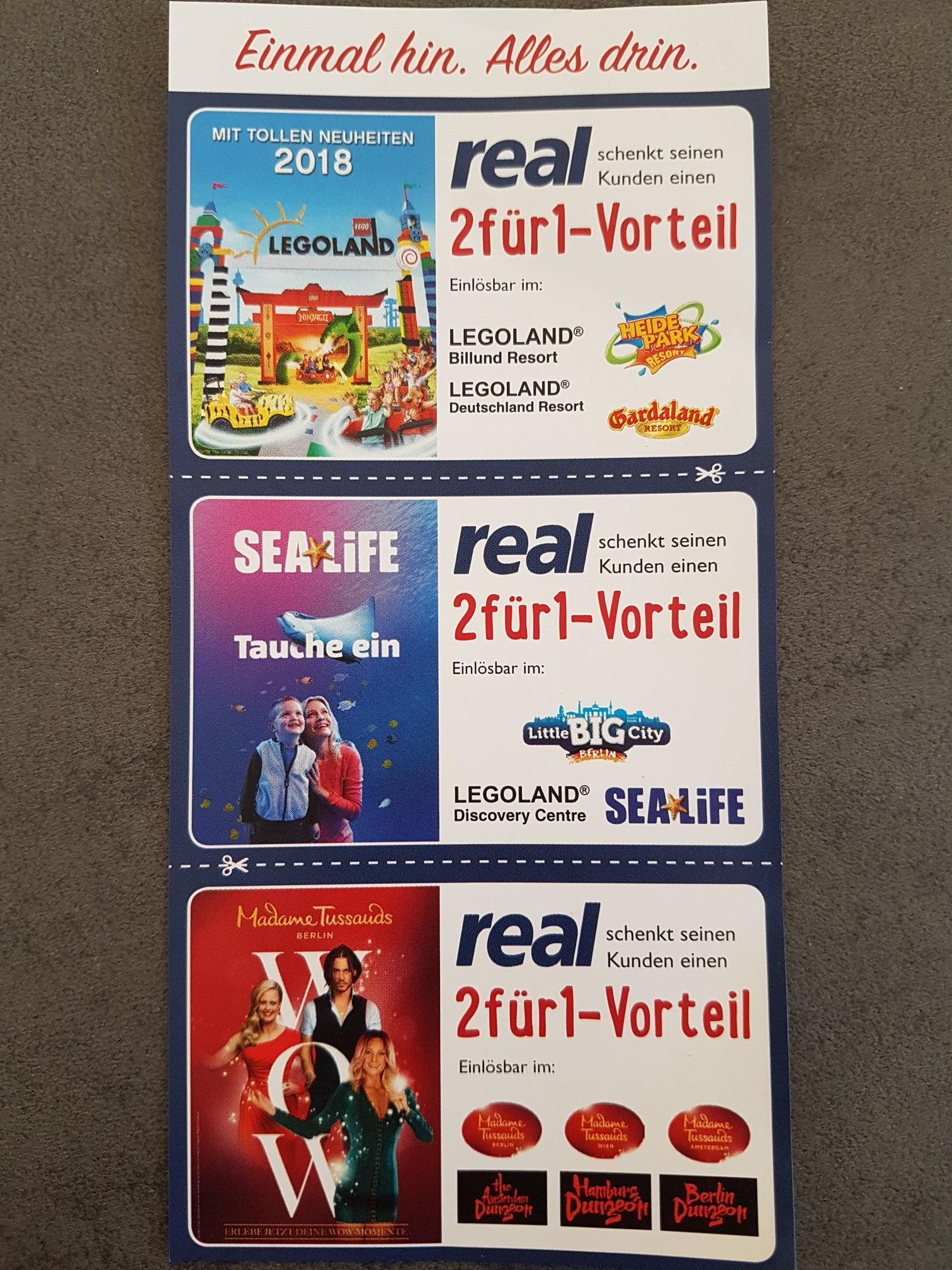 2 für 1 Gutscheine für Legoland, Gardaland, Heide Park, Sealife, Madame Tussauds