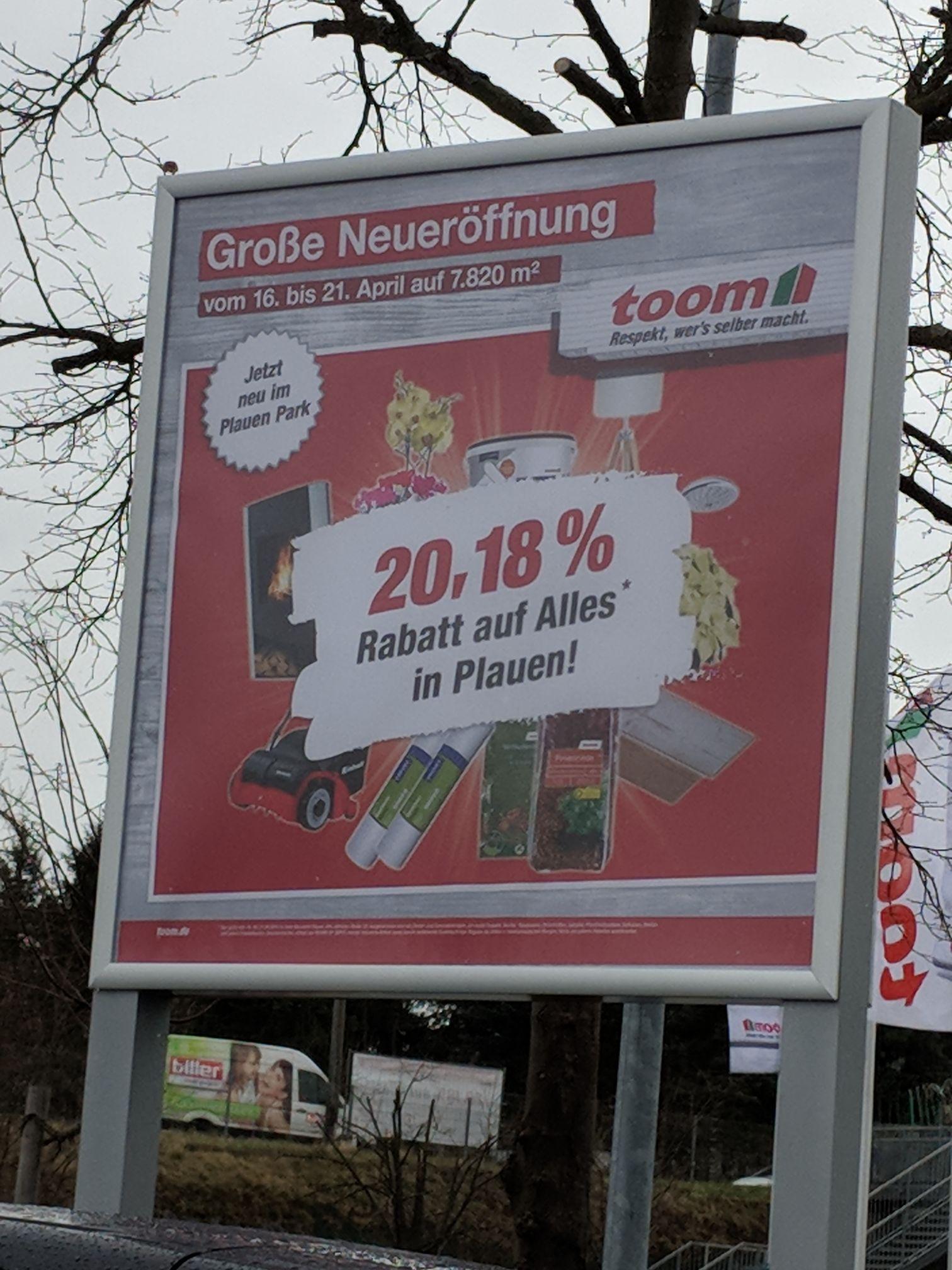 [toom Plauen] 20,18% Rabatt auf Alles [16.-21.4.]