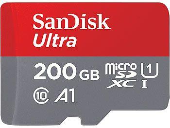 SanDisk Ultra microSDXC, 200GB, U1, 100MB/s, A1, mit Adapter +inkl vsk