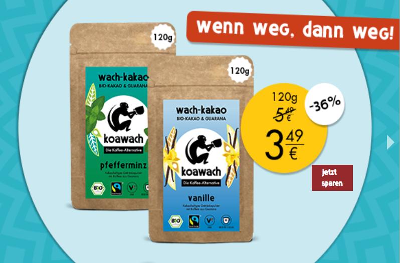 Koawach Sale! Bis zu 52% Rabatt auf Kakao mit Guarana in verschiedenen Geschmacksrichtung