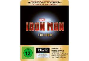 [Saturn]Iron Man Trilogie - Limited 4K Ultra HD Edition im Steelbook - (4K Ultra HD Blu-ray + Blu-ray) für 44,99€