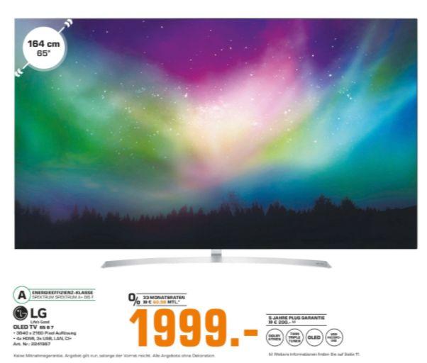 [Regional Saturn Bad Oeynhausen/Herford] LG OLED65B7D- 164 cm (65 Zoll) OLED Fernseher (4K Ultra HD, HDR 10, Dolby Vision, Smart TV, PVR, WLAN für 1999,-€