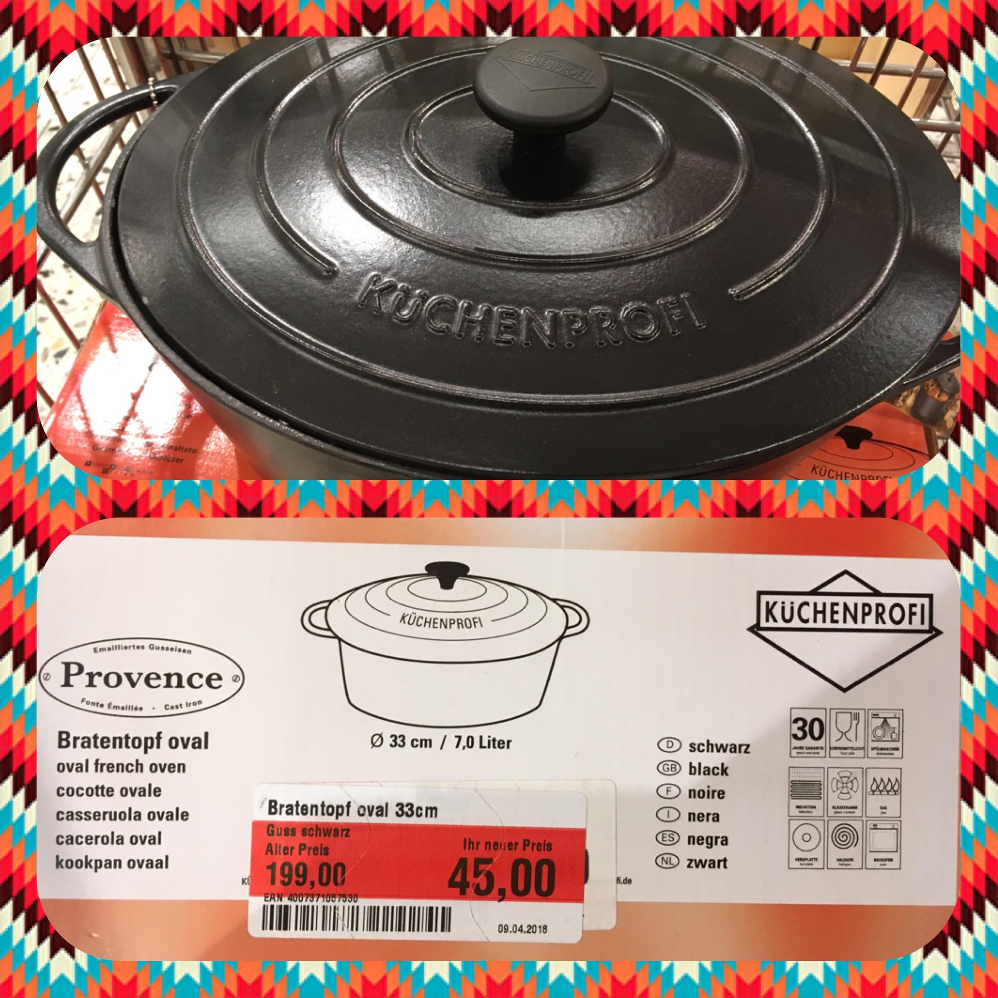 [LOKAL GLOBUS HOCKENHEIM] Küchenprofi Bratentopf oval, 33cm, 7L, Gusseisen