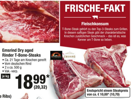 Dry Aged T-Bone-Steak Emsrind 2 x a ca 500g - 20,32 / Kg METRO