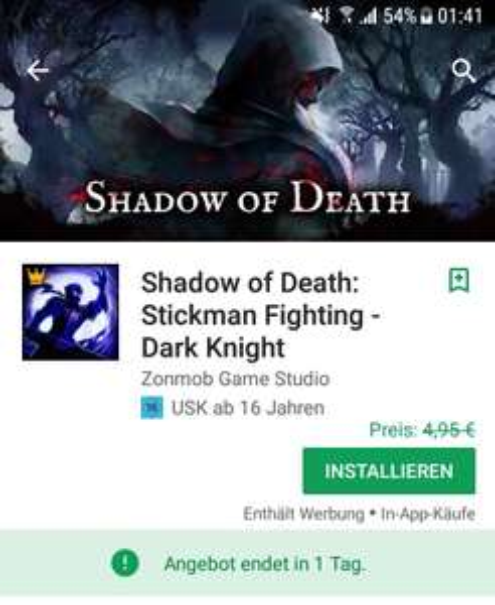 Google Play Spiel Schatten des Todes: Stickman Fighting