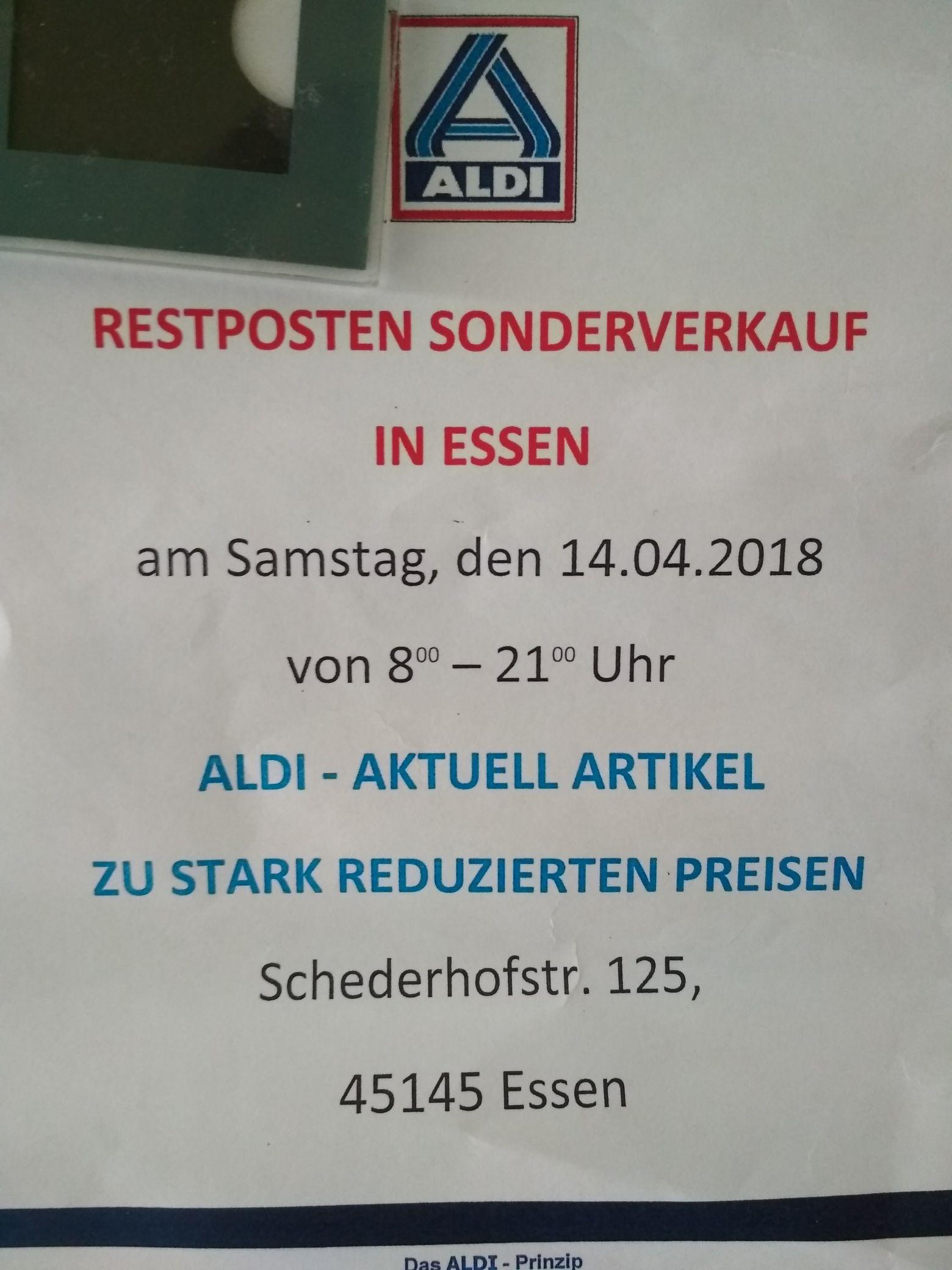 Lokal: restposten sonderverkauf bei Aldi in Essen (schederhofstr. 125) am 14.04.18