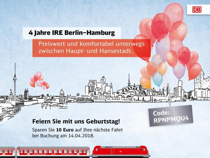 IRE Bahn Berlin - Hamburg Schnäppchenpreis zum IRE Geburtstag am 14.04.2018