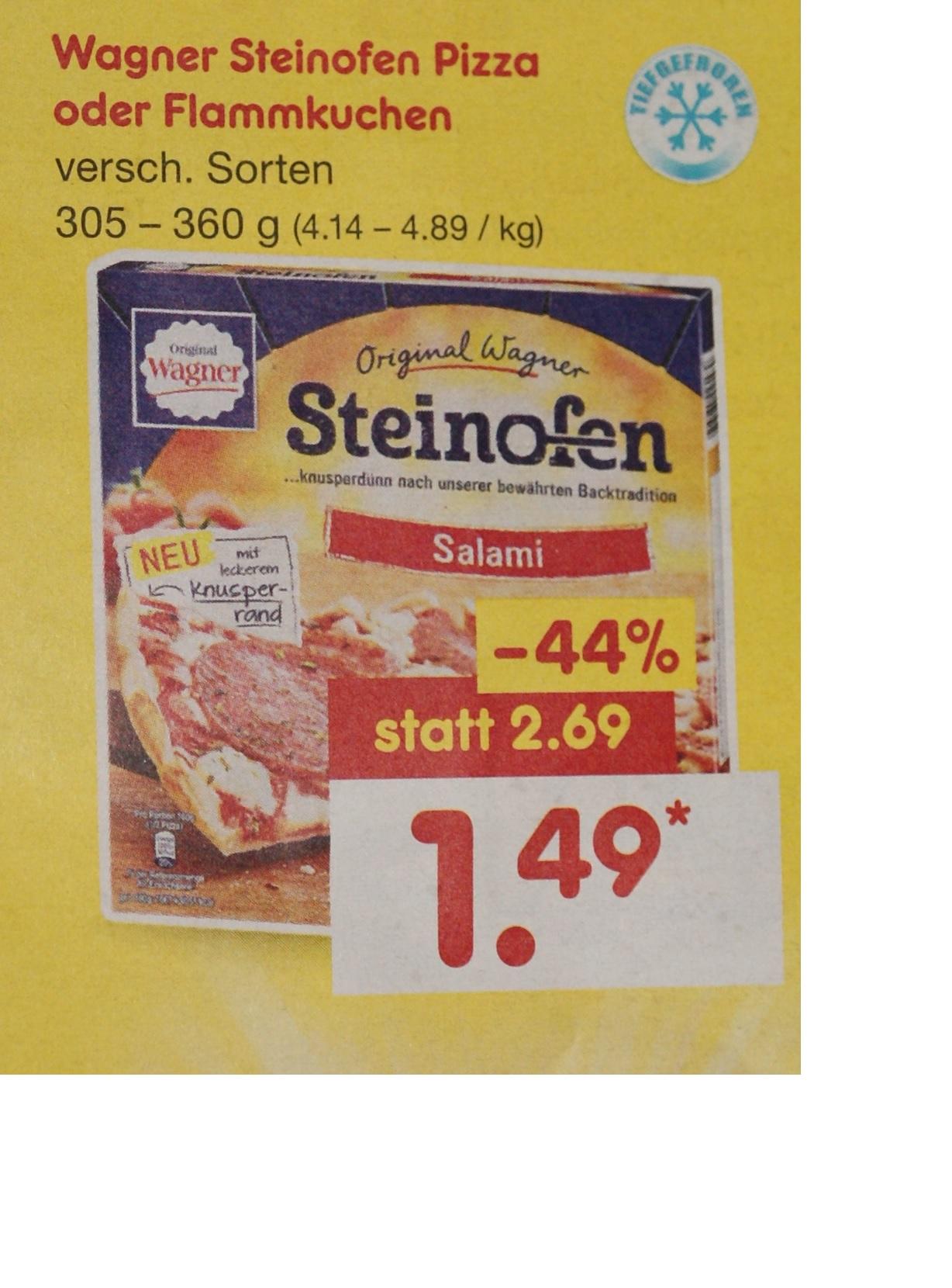 Wagner Pizza Steinofen oder Flammkuchen für 1,49 € bei netto bundesweit