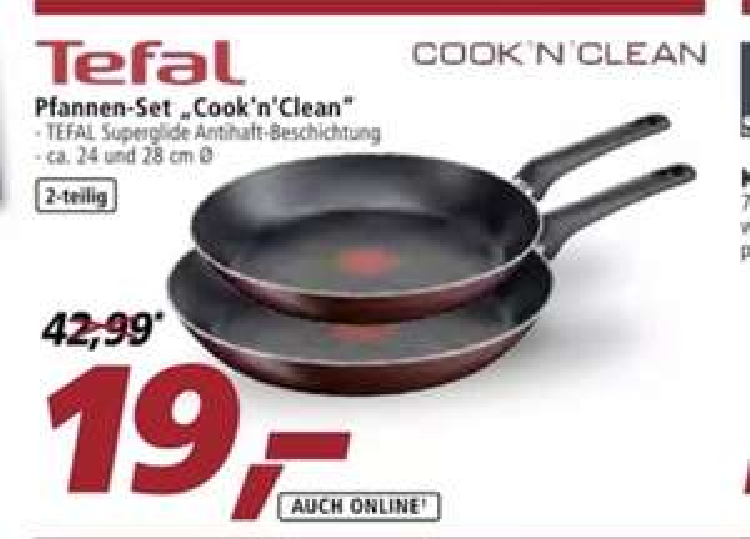 Tefal Pfannen-Set Cook'n Clean 2-tlg. Ø 24 + 28 cm für 19€ (Marktlieferung&Lokal) - 23.95€ (Online)