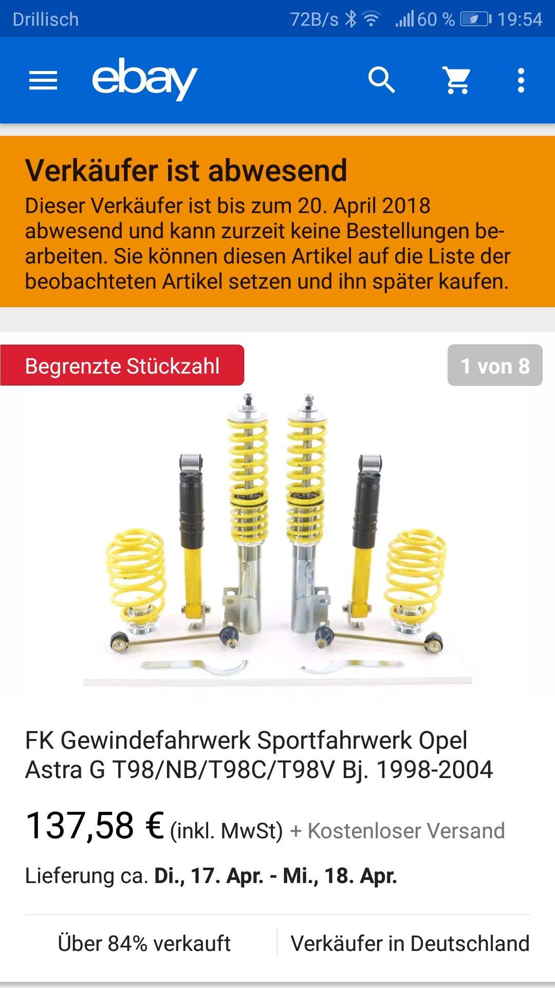 (ebay) Fk Gewindefahrwerk SMOP9001 für Astra G ausser Kombi