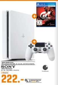 [Regional Saturn Lüdenscheid ab 18.04] Sony PlayStation 4 (PS4) Slim 500GB glacier white inc. Gran Turismo Sport incl. That's You! Voucher - PlayStation 4 für 222,-€