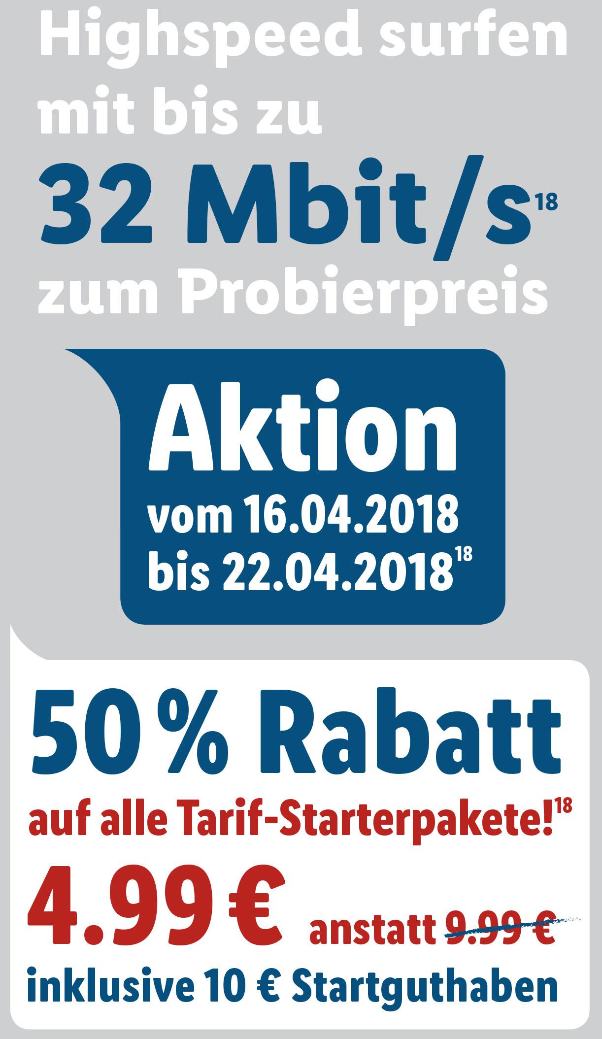 50% Rabatt auf LIDL Connect (Vodafone-Netz) Startpaket zu 4,99 Euro (10 Euro Startguthaben!)