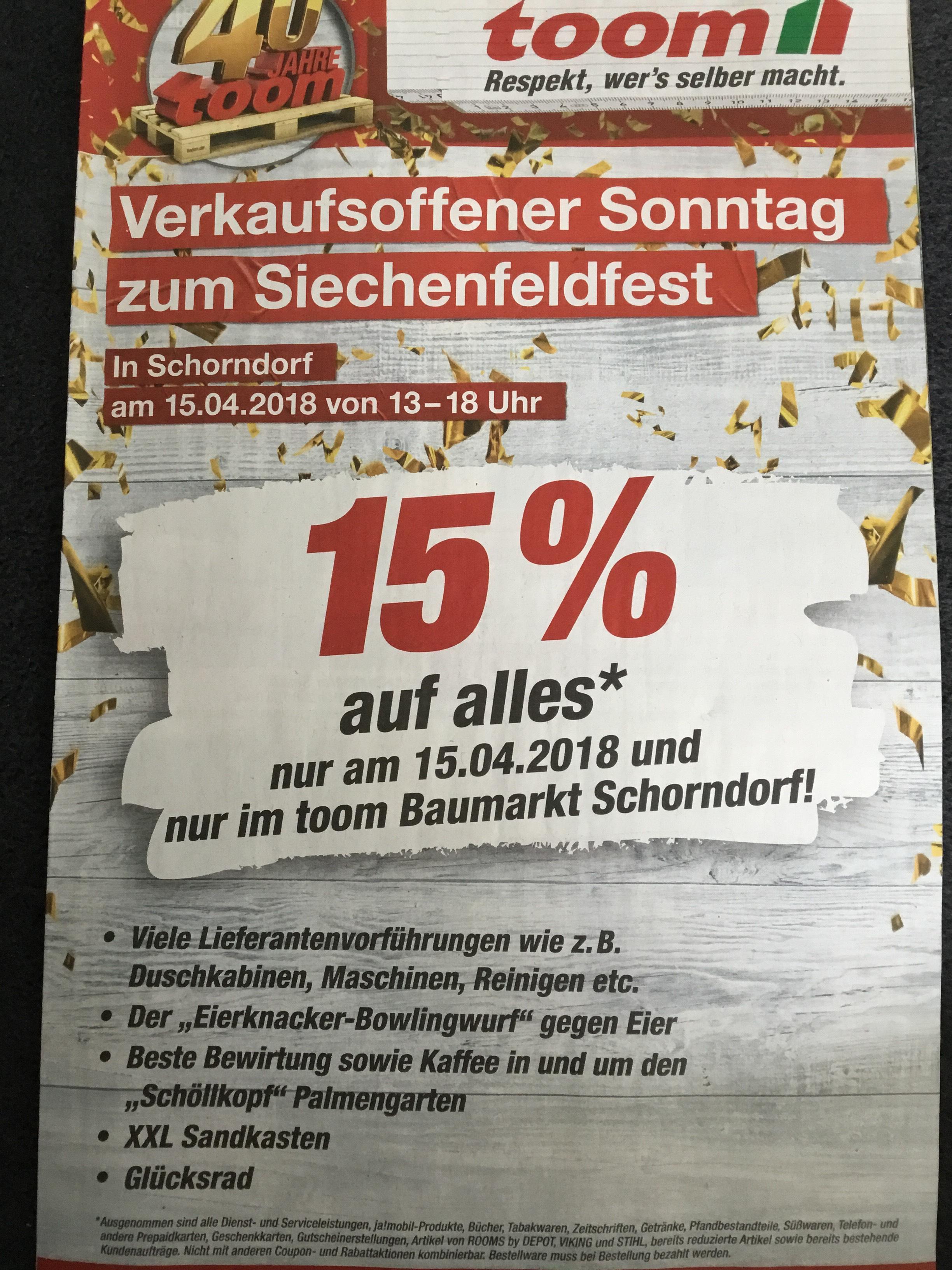 -Lokal Schorndorf 73614- 15% auf alles im Toom Baumarkt