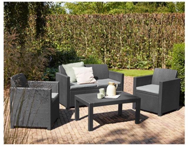 Allibert Lounge Set Merano 8-teilig - graphit , 2 Sessel + 1 Bank 2er + 1 Tisch + 4 Auflagen