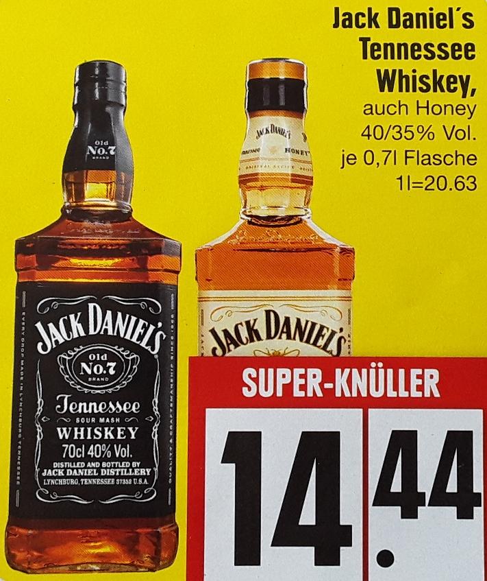 Jack Daniel's Tennessee Whiskey - je 0,7l Flasche für 14,44 € (mit 10% Prospektcoupon sogar nur 12,99€) @ Edeka Südbayern ab 16.04. (Lokal - Ausgewählte Filialen - 10 x Raum MUC)