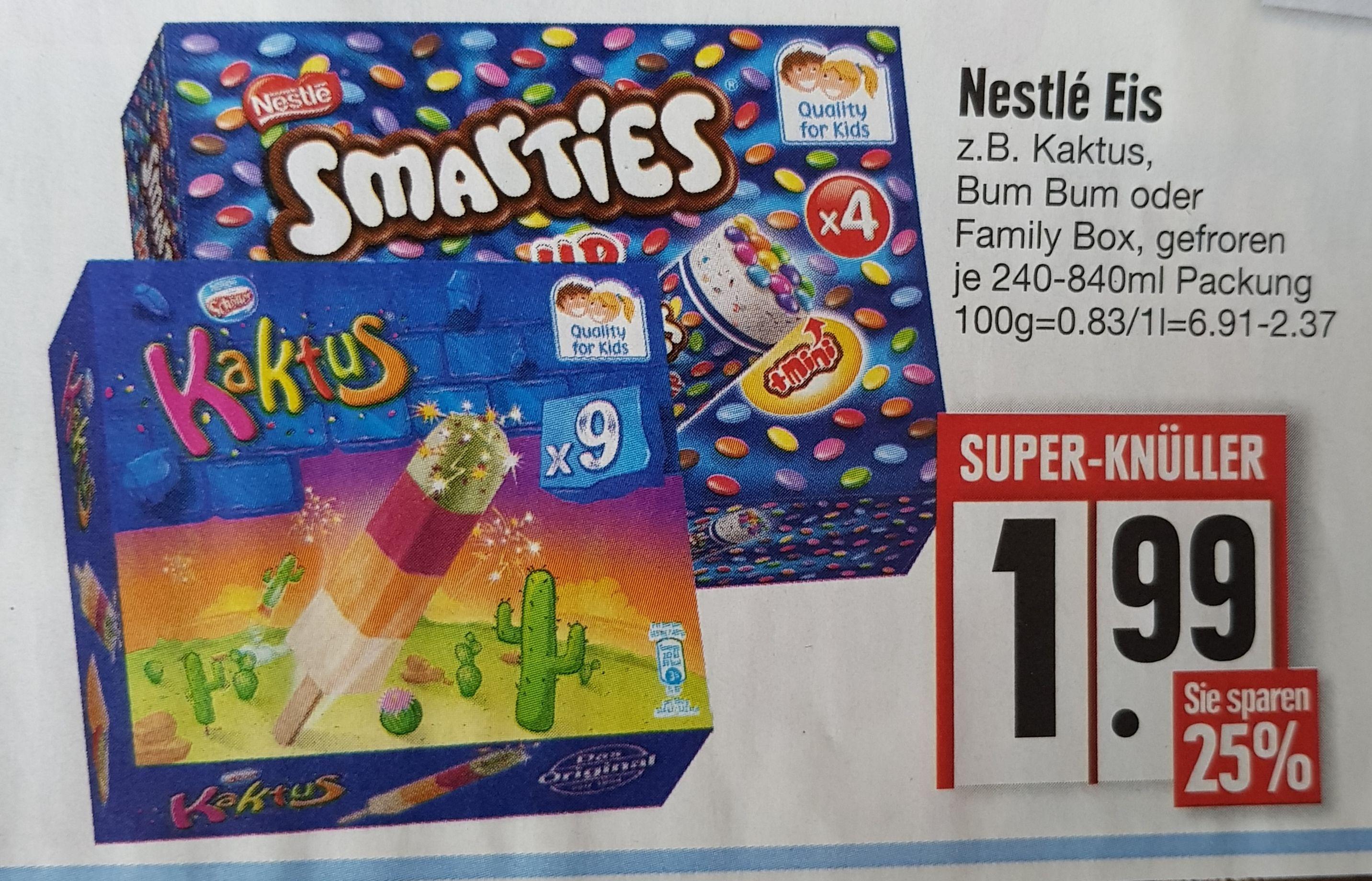 [Edeka] Nestlé Eis für 1,99€ Kaktus/Bum Bum/Family Box