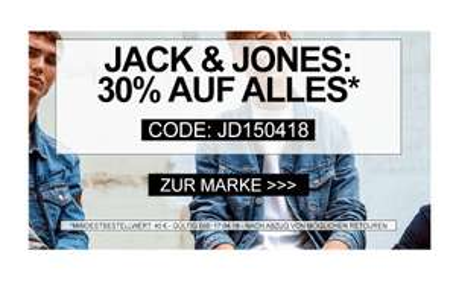 Jeans Direct: 30% Rabatt auf alle Jack & Jones Artikel!
