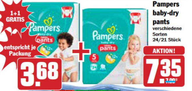 [AEZ+HIT] 2x Pampers Pants Sparpack für 7,35€ (evtl kombinierbar mit 3€ Coupon auf 4,35€)