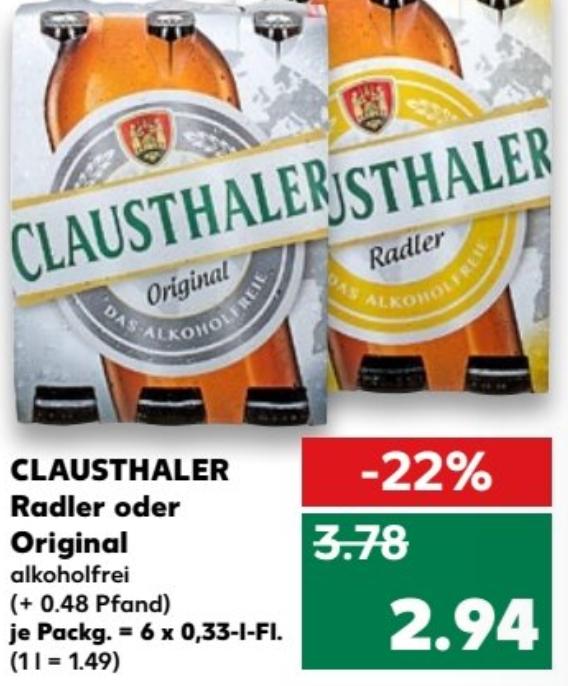Clausthaler Radler oder Original alkoholfrei 6x0,33l für 1,94€ (Angebot+Coupon) bei Kaufland ab 19.04.