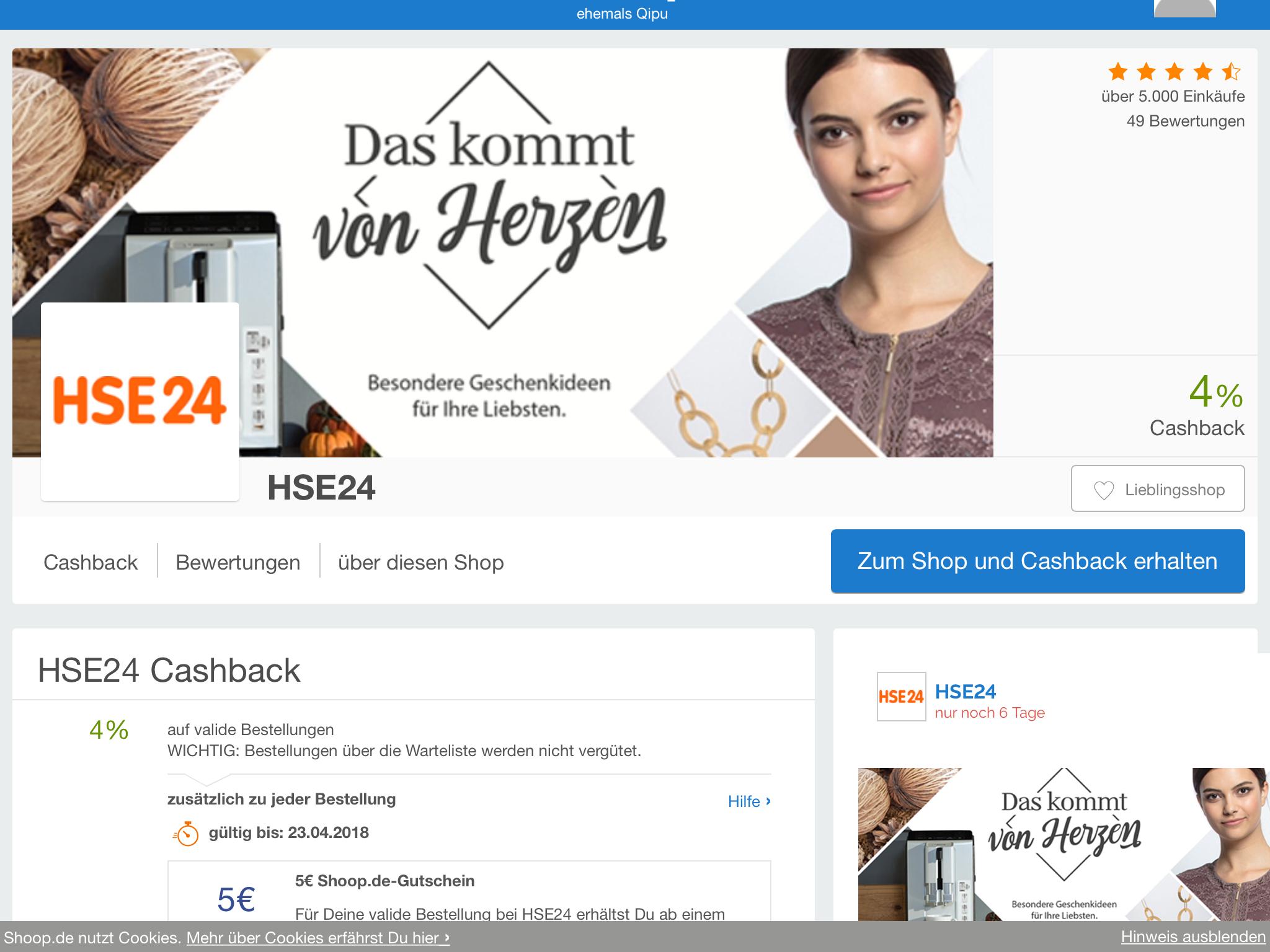 (Shoop) bei HSE24 4% Cashback + 5€ Shoop.de-Gutschein ab 30€ MBW