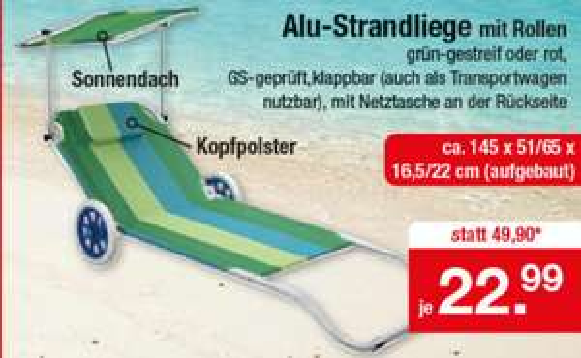 Alu-Strandliege mit Rollen und Sonnendach Grün-Gestreift oder Rot für 22,95 bei Zimmermann