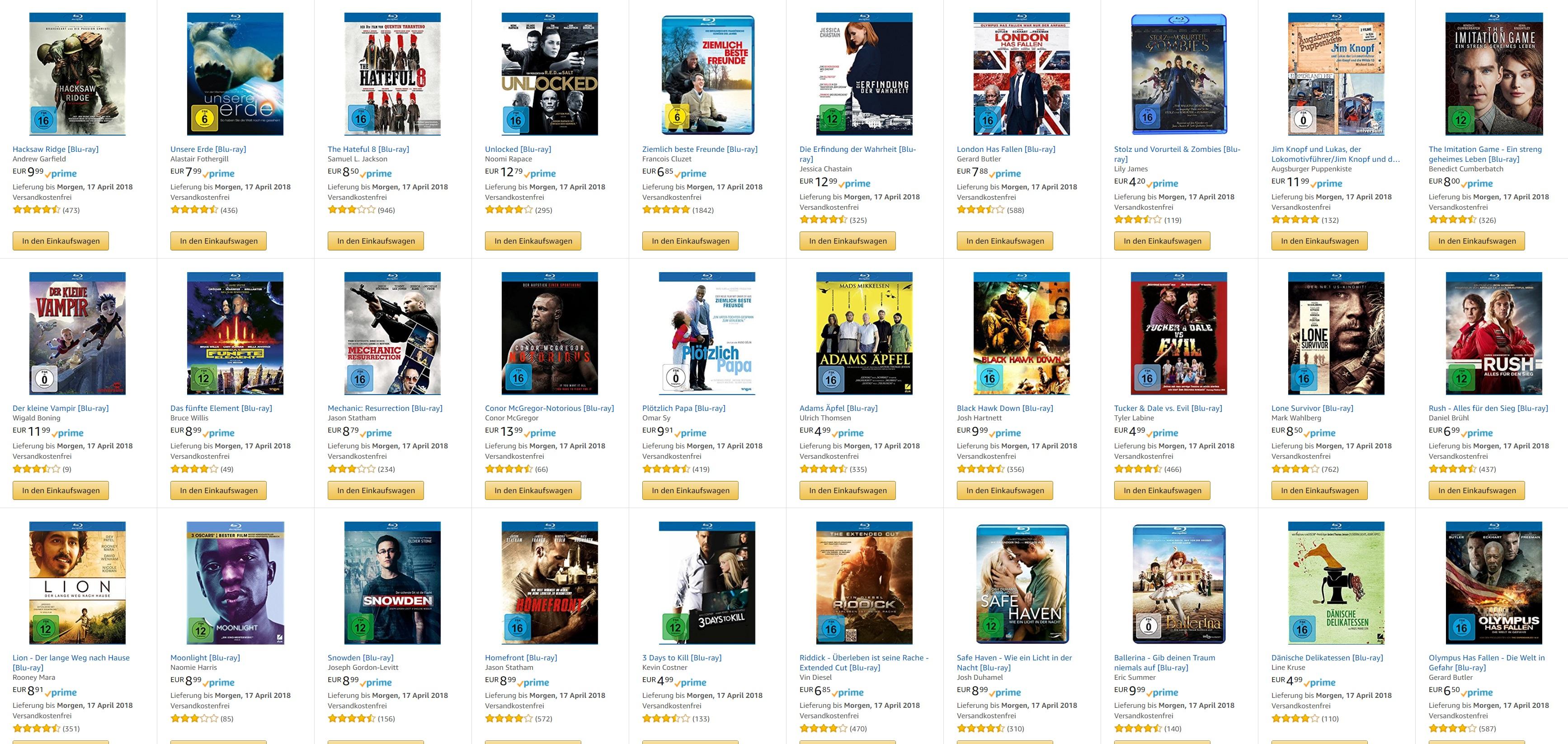 10 Blurays für 50€ bei [Amazon]