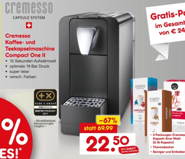 [Lokal Netto Dortmund] Cremesso Compact One 2 Tee- und Kaffekapselmaschine + Set