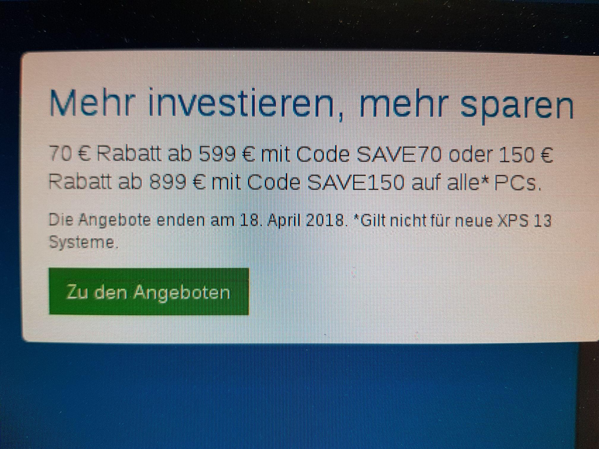 Rabatt Dell 70€ und 150€