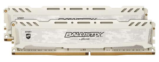 Ballistix Sport LT 8GB Kit Weiß (2x4GB) DDR4-2400 MHz CL16 DIMM 288pin Dual Rank Intel XMP 2.0 Rot