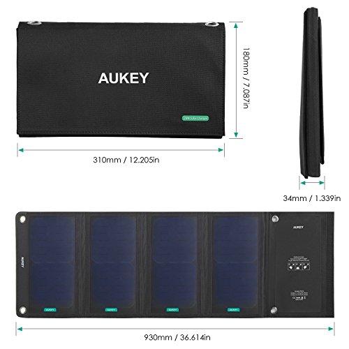 [AMAZON] AUKEY PB-P5 Solar Ladegerät mit 2 USB Ports, 5V 2.4A, 28W schwarz (auch ohne Prime ohne VSK!)