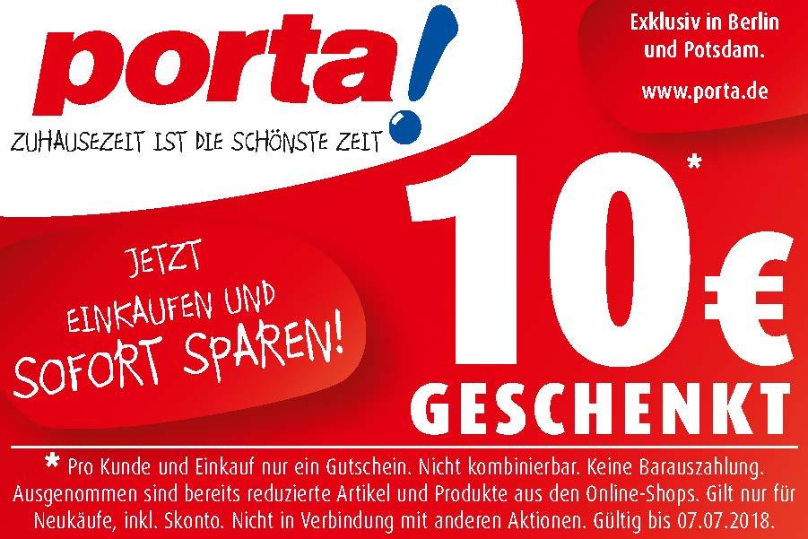 10€ geschenkt bei porta! in Berlin und Potsdam!