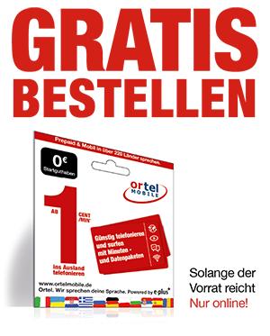 Ortel Mobile Prepaid SIM-Karte gratis bestellen ohne Versandkosten !