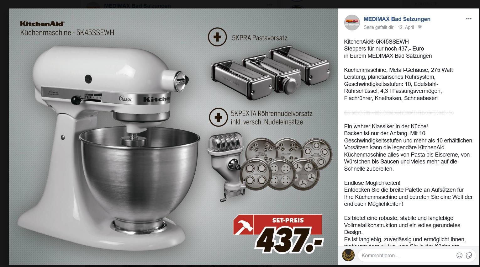 [LOKAL] MediMax Bad Salzungen - KitchenAid Classic + Pastavorsatz + Röhrennudelvorsatz