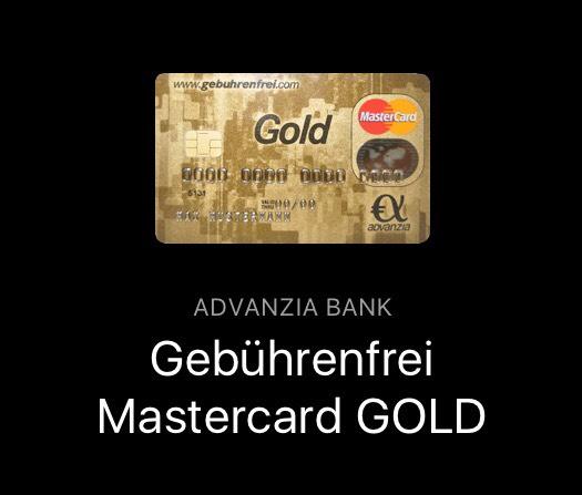 Numbrs: Advanzia Gebührenfrei MasterCard Gold mit 50€ Guthaben