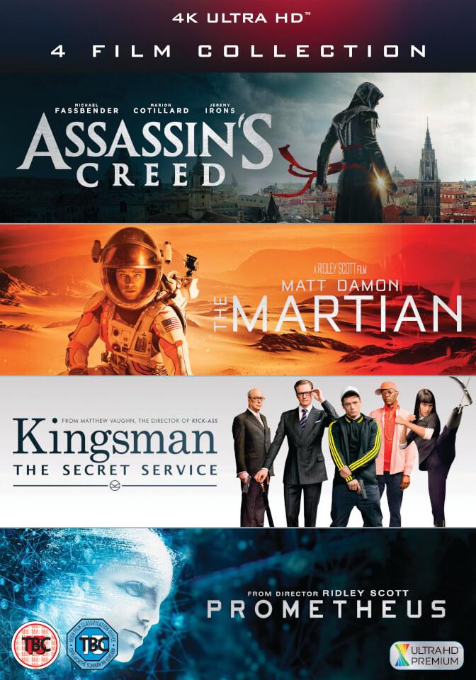 Assassin's Creed + Kingsman + Prometheus + Der Marsianer (4K Blu-ray) für 33€ (Zavvi)