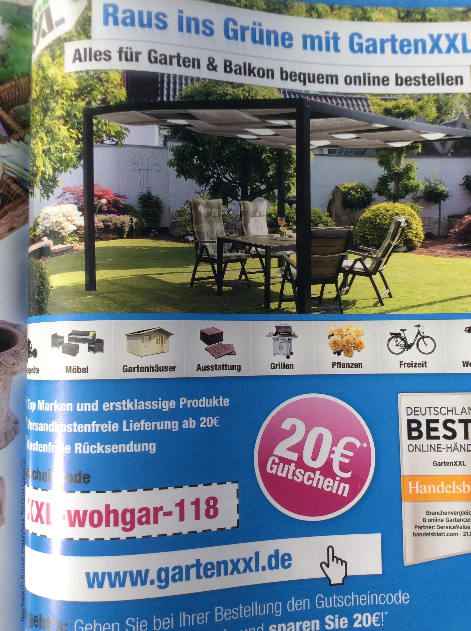 (Garten XXL) Gutschein über € 20 bei einem MBW von 150,-