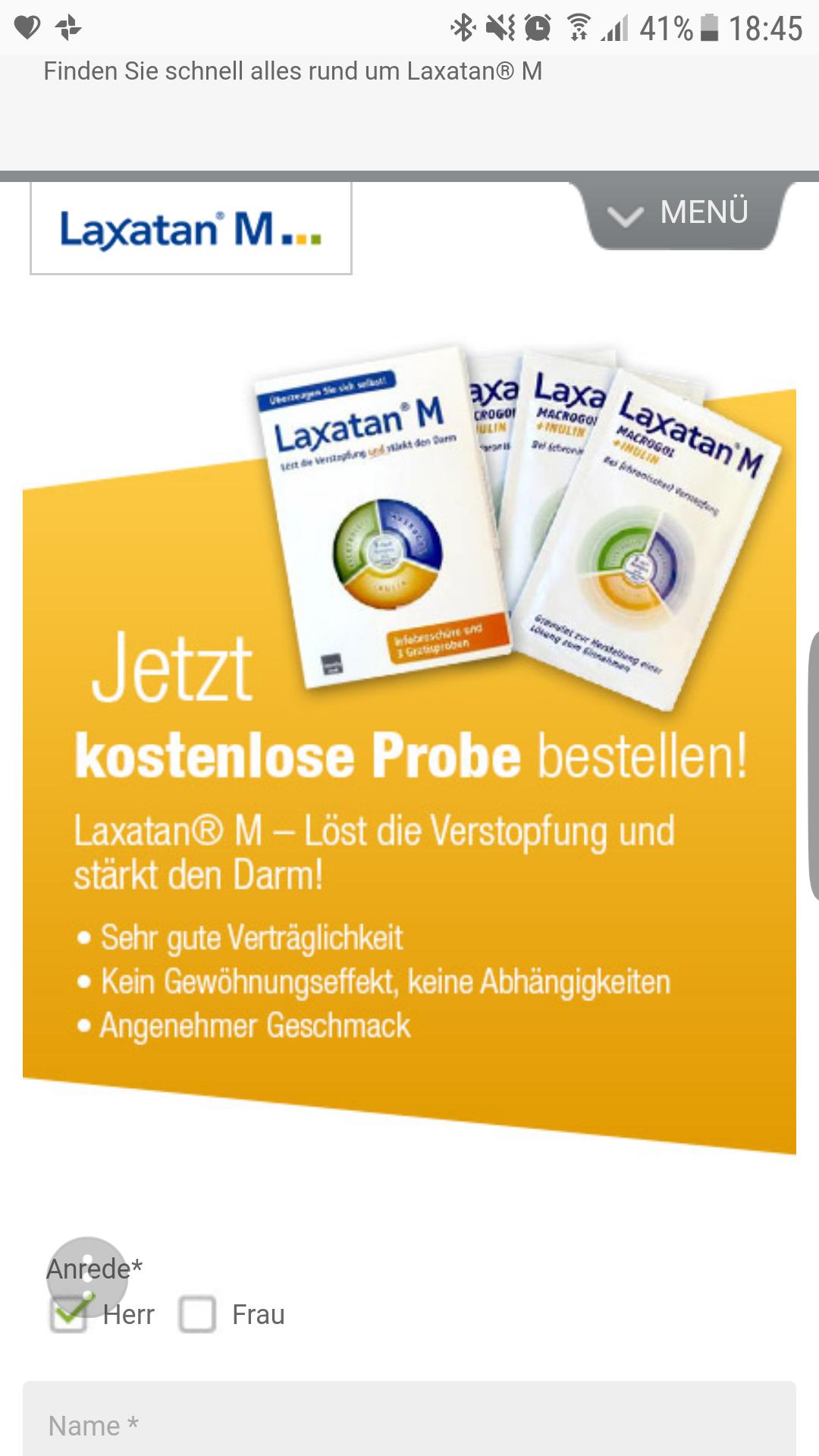 Gratis Laxatan M Probe (gegen Verstopfung)
