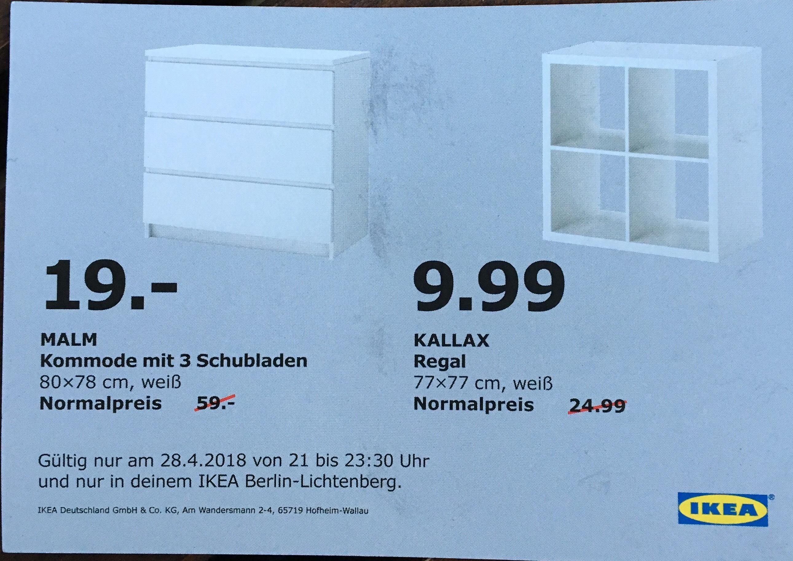 [Lokal IKEA Lichtenberg] Malm Kommode 19€ sowie Kallax 9,99€