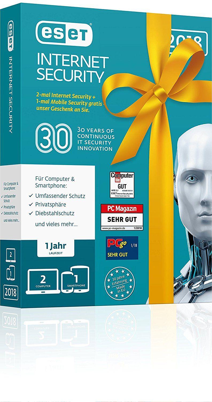 ESET Birthday Edition |2x Internet Security & 1x Mobile Security | Insgesamt 3 Geräte | 1 Jahr Virenschutz | Für Windows (10, 8, 7 und Vista) und Android | Download