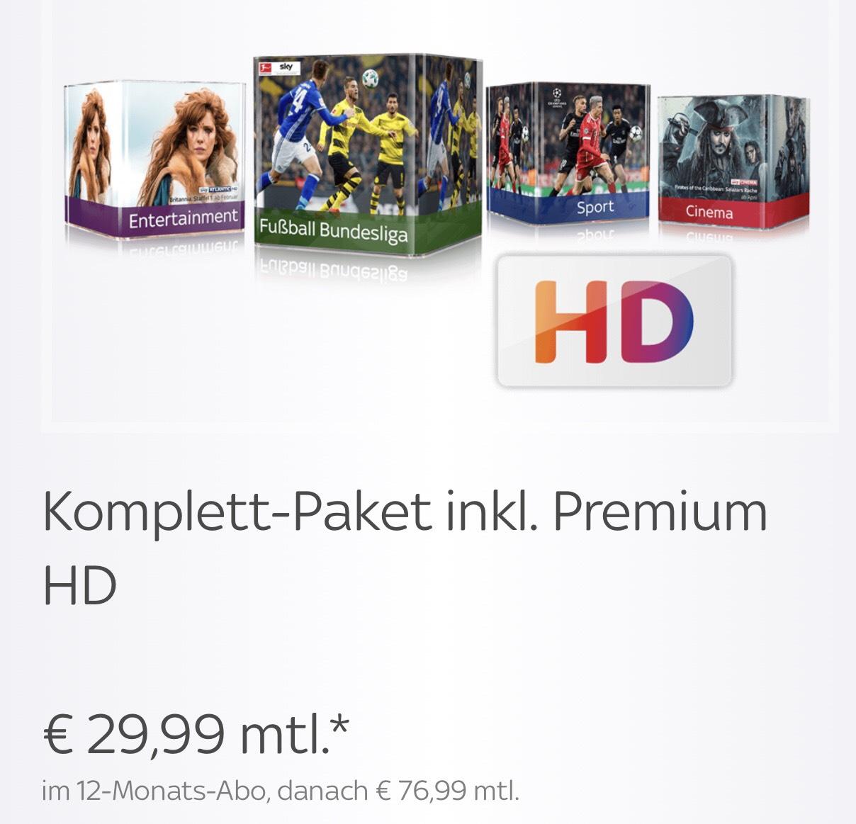 Sky Komplettpaket inkl Premium HD