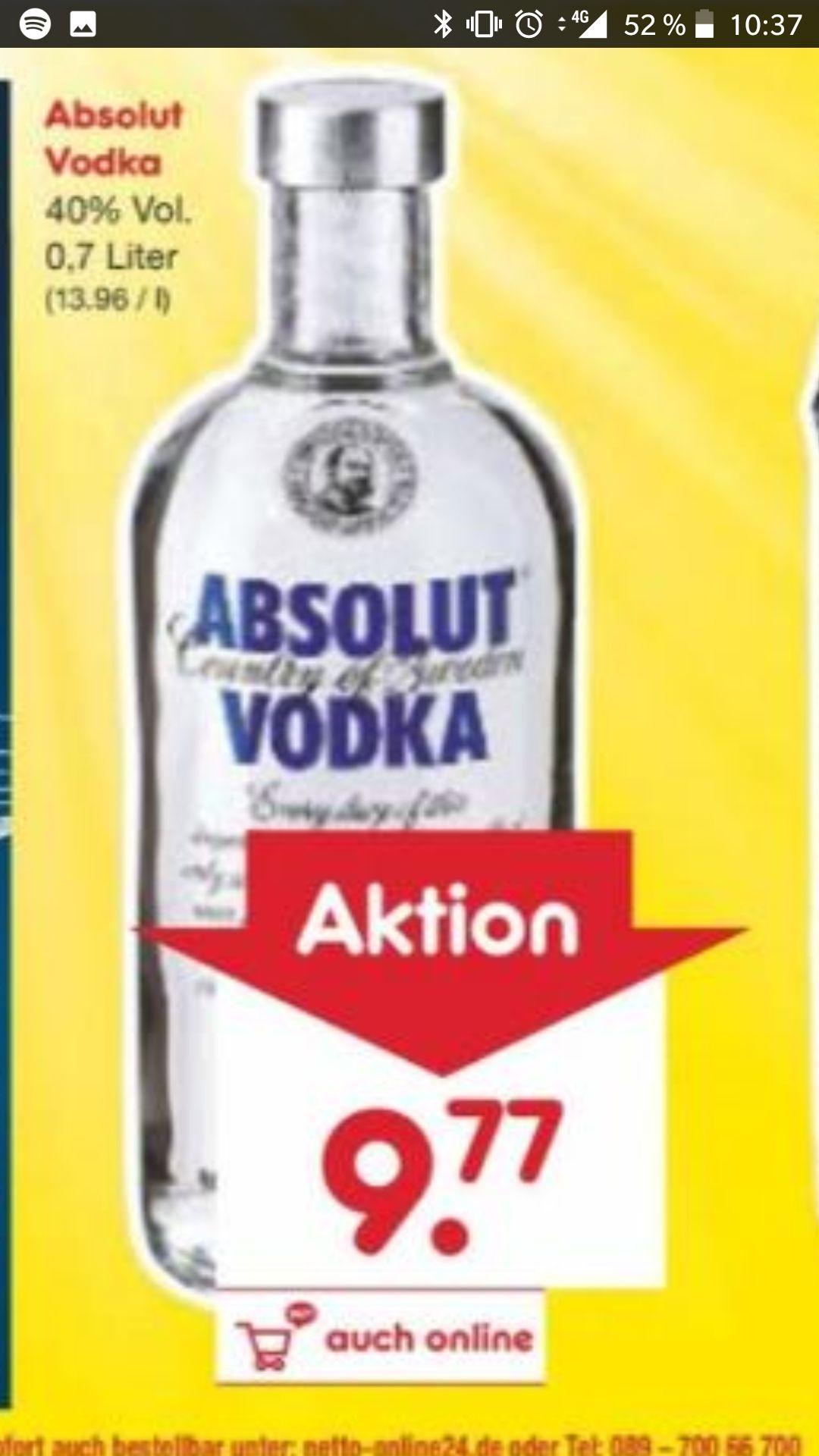 [Netto Märkte] Absolut Wodka 0,7L für 9,77€