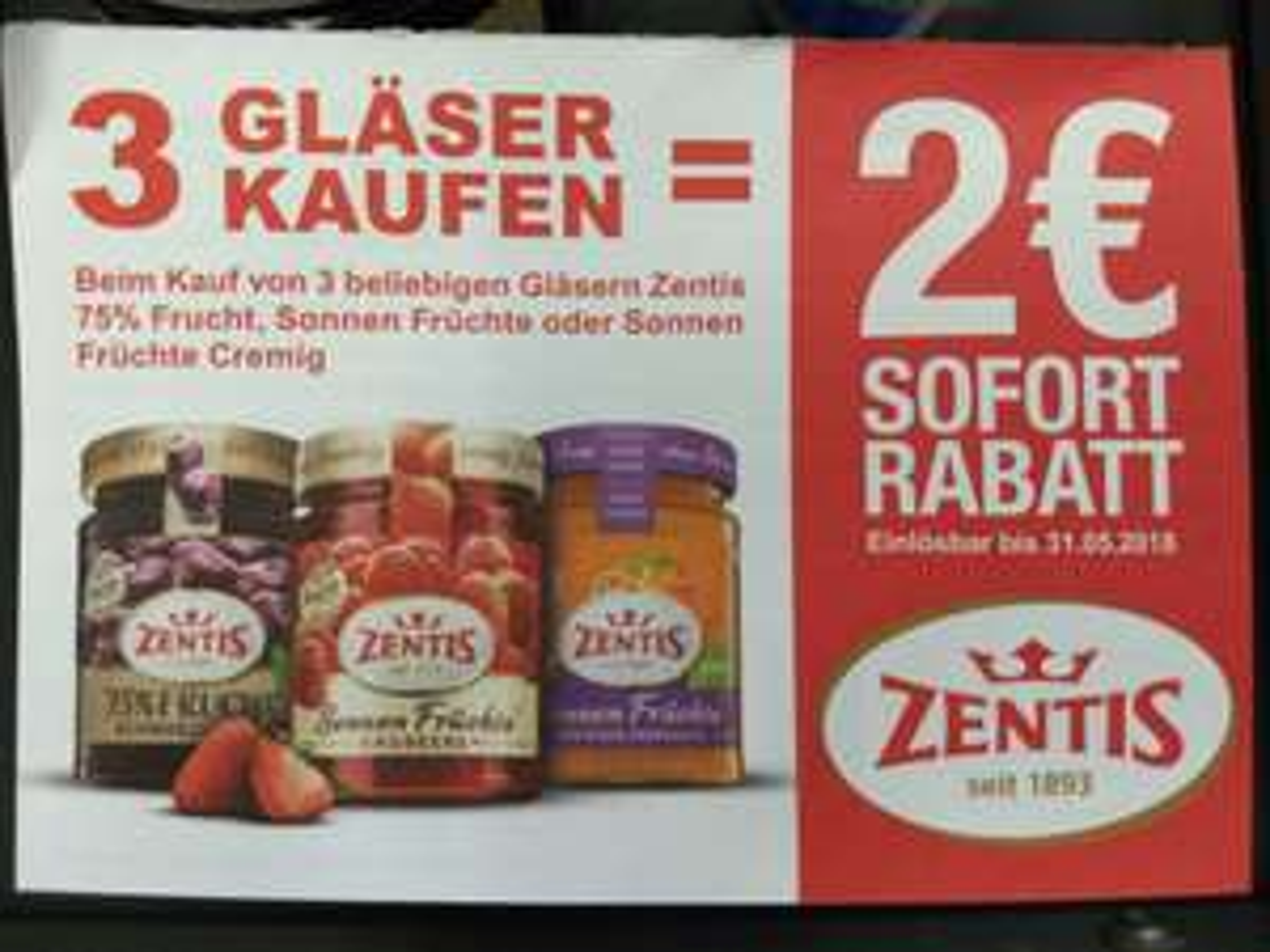 3 Gläser Zentis Marmelade kaufen = 2 € Sofortrabatt