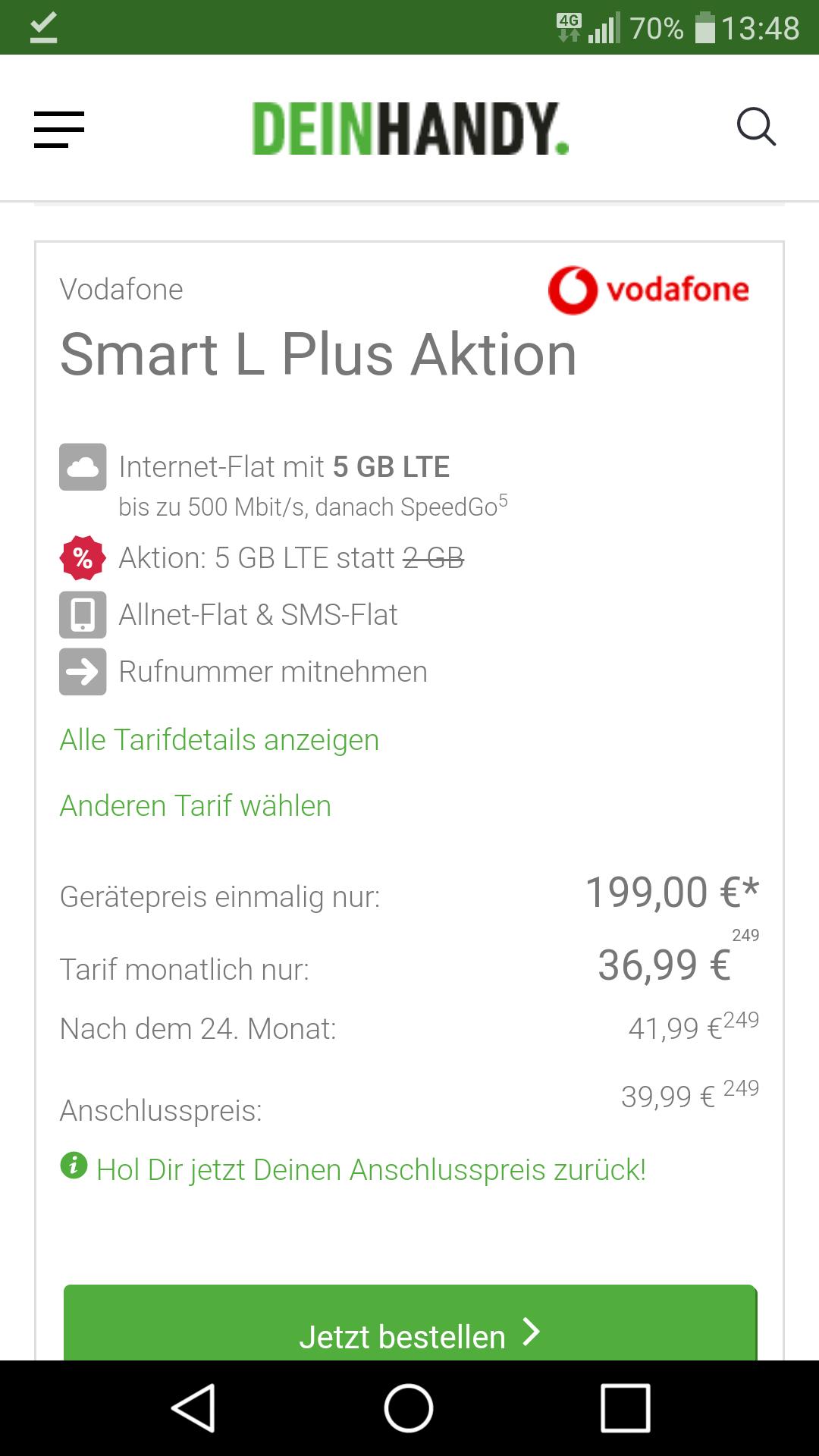 [DeinHandy.de] Samsung S9 Plus und Vodafone Smart L+ 5GB LTE für 36.99 mtl. und 199€ Zuzahlung (13.65 mtl. Effektiv)