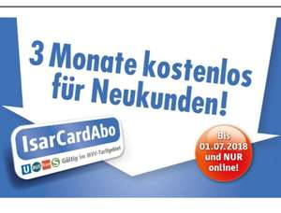 [München] MVG IsarCard Abo 12 Monate zum Preis von 9 für Neukunden