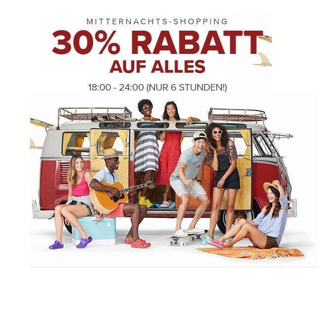 Mitternachts-Shopping bei Crocs: 30% Rabatt auf Alles* + Kostenloser Versand!