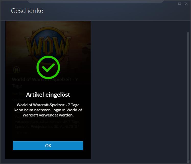 World of Warcraft 7 Tage gratis Spielzeit