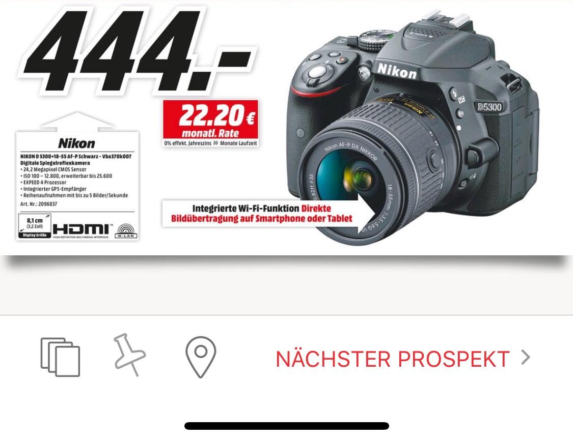 NIKON D5300 Kit Spiegelreflexkamera 24.2 Megapixel mit Objektiv 18-55 mm f/3.5-5.6, 8.1 cm , WLAN [LOKAL] Media Markt Gütersloh & Lippstadt