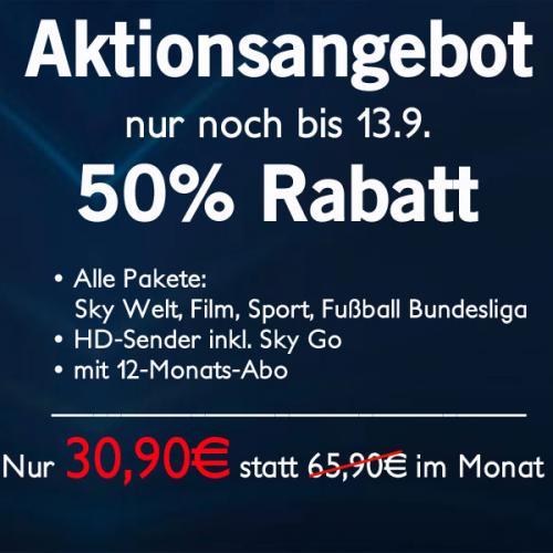 Sky Angebot: Sky komplett für 30,90€ im Monat