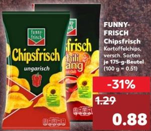 FUNNY-FRISCH Chipsfrisch - je 175g Beutel - für sehr gute 88 ct @ Kaufland ab 26.04.